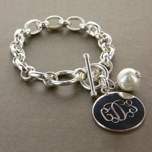 monogrammed bracelet with pearl charm
