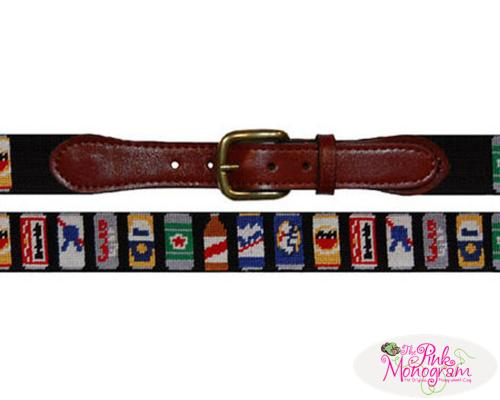 Smathers and Branson Needlepoint Beer Cans Belt   Apparel & Accessories > Clothing Accessories > Belts