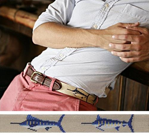 Smathers and Branson Needlepoint Bill Fish Belt Monogram Option  Apparel & Accessories > Clothing Accessories > Belts