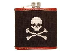 Smathers and Branson Jolly Roger Black with white skull needlepoint flask - Monogram Option  Home & Garden > Kitchen & Dining > Food & Beverage Carriers > Flasks