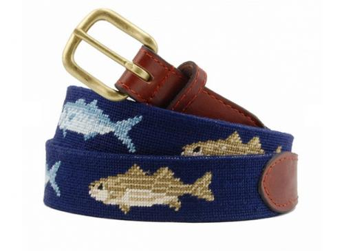 Smathers and Branson Bluefish and Striper Needlepoint Belt - Monogram Option  Apparel & Accessories > Clothing Accessories > Belts