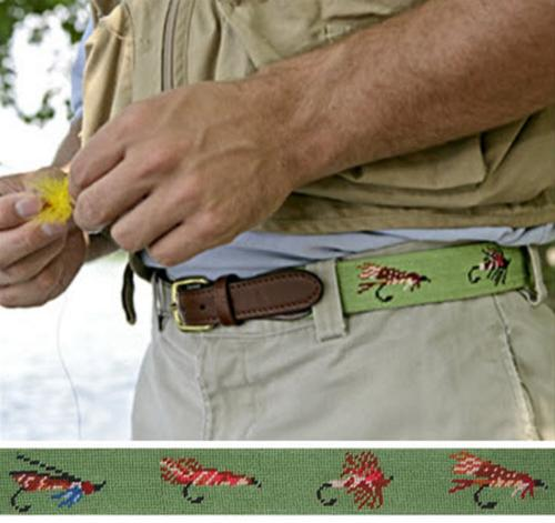 Smathers and Branson Fishing Flies Moss Needlepoint Belt  Apparel & Accessories > Clothing Accessories > Belts