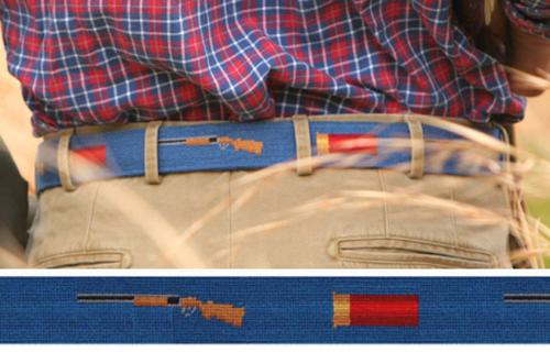 Smathers and Branson Shotgun and Shell Needlepoint Belt   Apparel & Accessories > Clothing Accessories > Belts