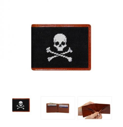 Skull and Bone Wallet Black By Smathers and Branson  Apparel & Accessories > Handbags, Wallets & Cases