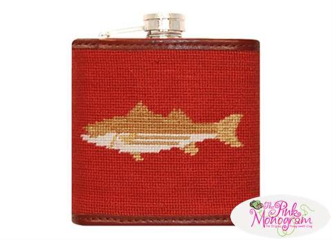Smathers and Branson Needlepoint Rust Striper Flask - Monogram Option  Home & Garden > Kitchen & Dining > Food & Beverage Carriers > Flasks