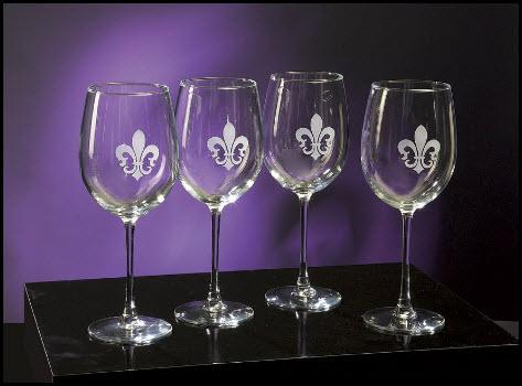Wine Glasses with  Fleur-de-lis Set of Four  Home & Garden > Kitchen & Dining > Tableware > Drinkware > Stemware > Wine Glasses