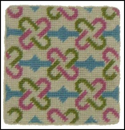 Set of Four Pink, Lime and Blue Needlepoint Coasters pink lime and blue coasters Home & Garden > Kitchen & Dining > Tableware > Trivets