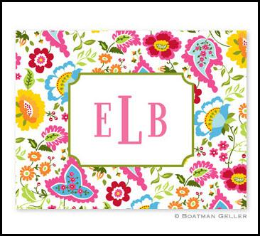 Boatman Geller Bright Floral Monogrammed Notes  Office Supplies > General Supplies > Paper Products > Stationery