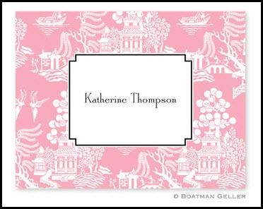 Chinoiserie Pink Personalized Foldover Notes  Office Supplies > General Supplies > Paper Products > Stationery
