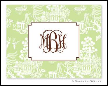 Chinoiserie Green Monogrammed Foldover Notes  Office Supplies > General Supplies > Paper Products > Stationery