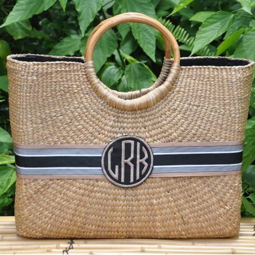 Queen Bea Monogrammed Large Becky Basket  Apparel & Accessories > Handbags > Tote Handbags