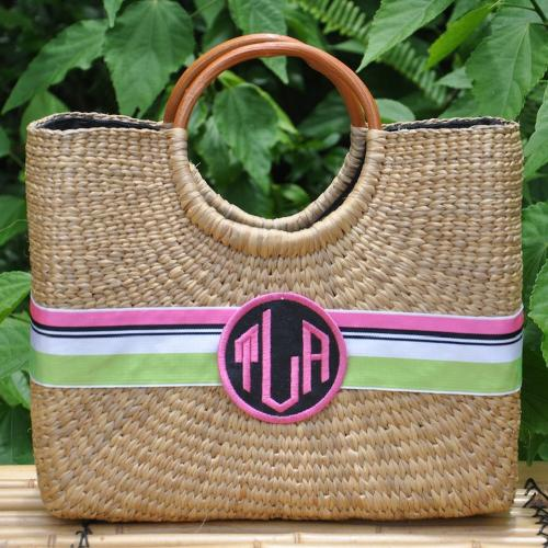 Queen Bea Monogrammed Medium Becky Florida Basket  Apparel & Accessories > Handbags > Tote Handbags