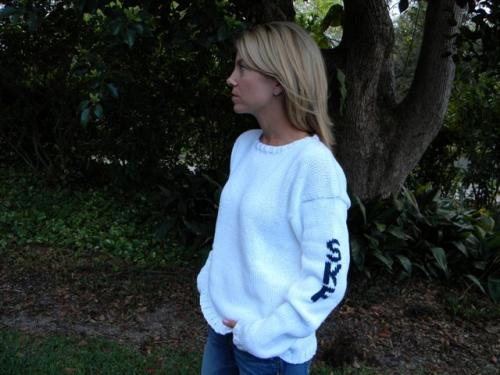 Monogrammed Ladies Hand Knit Sweater Initials On Sleeve  Apparel & Accessories > Clothing > Shirts & Tops > Sweaters & Cardigans