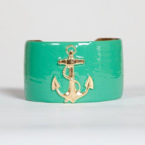"Wimberly Inc 1.5"" wide hand-enameled turquoise cuff with anchor"