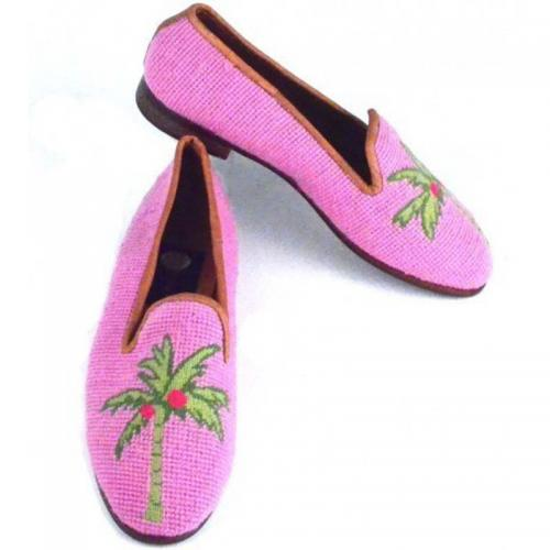 Needlepoint Preppy Pink Palm Loafers Hand Stitched By Paige  Apparel & Accessories > Shoes > Loafers