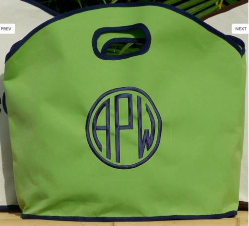 Queen Bea Monogrammed GG Siesta Green Tote with Navy Trim  Apparel & Accessories > Handbags > Tote Handbags