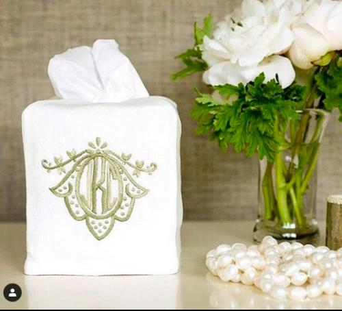 Monogrammed  Tissue Box Cover  Home & Garden > Bathroom Accessories > Facial Tissue Holders