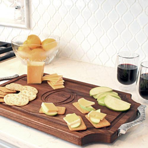 "Personalized Cutting Board 12x18"" Scalloped Walnut With Rope Handles  Home & Garden > Kitchen & Dining > Kitchen Tools & Utensils > Cutting Boards"
