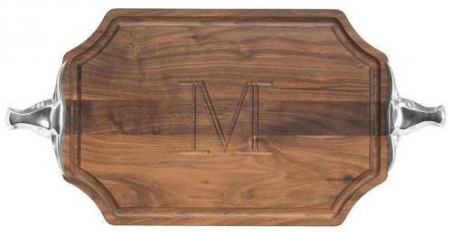 Personalized Cutting Board Walnut With Longhorn Handles  Home & Garden > Kitchen & Dining > Kitchen Tools & Utensils > Cutting Boards