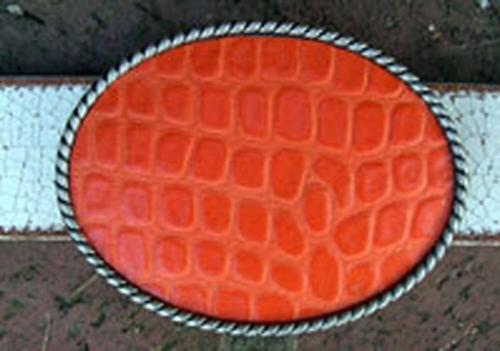 Loopty Loo Orange Croc Belt Buckle  Apparel & Accessories > Clothing Accessories > Belt Buckles