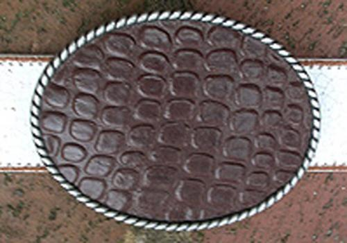 Loopty Loo Brown Croc Belt Buckle  Apparel & Accessories > Clothing Accessories > Belt Buckles