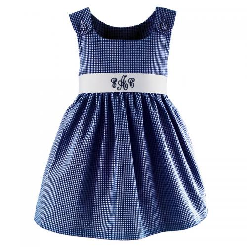 Monogrammed Girl's Navy Gingham Dress   Apparel & Accessories > Clothing > Baby & Toddler Clothing > Baby & Toddler Dresses