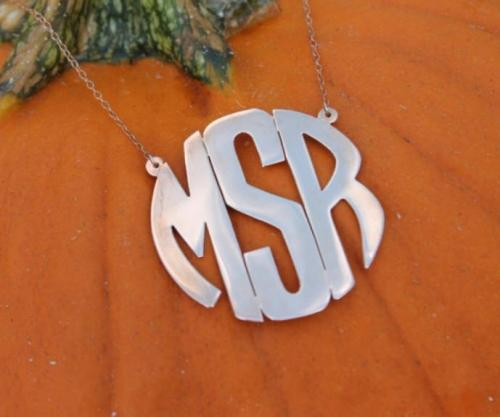 Monogrammed Block Style Pendant On Split Chain  Apparel & Accessories > Jewelry > Necklaces