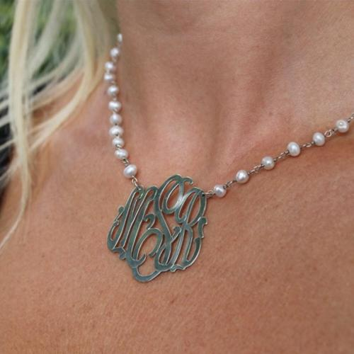Pearl Monogammed Necklace  Apparel & Accessories > Jewelry > Necklaces