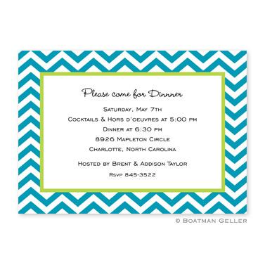 Boatman Geller Personalized Chevron Turquoise Flat Card Invitation  Office Supplies > General Supplies > Paper Products > Stationery