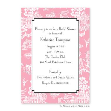 Boatman Geller Personalized Chinoiserie Pink Flat Card Invitation  Office Supplies > General Supplies > Paper Products > Stationery