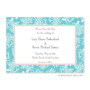 Coral Repeat Teal Flat Card Invitation  Office Supplies > General Supplies > Paper Products > Stationery