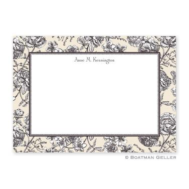 Floral Toile Cream Flat Card  Office Supplies > General Supplies > Paper Products > Stationery