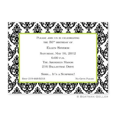 Madison White with Black Damask Flat Card Invitation  Office Supplies > General Supplies > Paper Products > Stationery