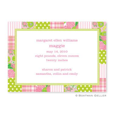 Boatman Geller Personalized Patchwork Pink Flat Card Invitation  Office Supplies > General Supplies > Paper Products > Stationery