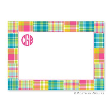 Boatman Geller Personalized Madras Bright Flat Card  Office Supplies > General Supplies > Paper Products > Stationery