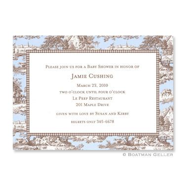 Boatman Geller Personalized Toile Blue & Brown Flat Card Invitation  Office Supplies > General Supplies > Paper Products > Stationery
