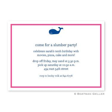 Whale Navy Flat Card Invitation  Office Supplies > General Supplies > Paper Products > Stationery