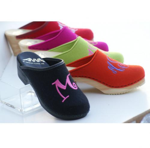 Monogrammed Wool or Leather Clogs from The Pink Monogram  Apparel & Accessories > Shoes > Clogs & Mules