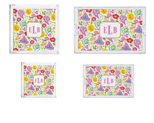Boatman Geller Personalized Bright Floral Tray  Home & Garden > Kitchen & Dining > Tableware > Serveware > Serving Trays