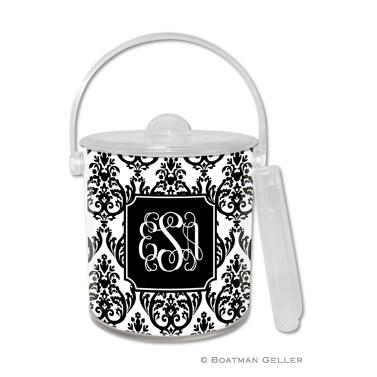Boatman Geller Personalized Ice Bucket in Madison Damask White with Black Pattern  Home & Garden > Kitchen & Dining > Food & Beverage Carriers > Wine Buckets & Chillers