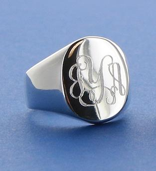 Monogrammed oval ID ring- Sterling silver and a classic for engraving  Apparel & Accessories > Jewelry > Rings