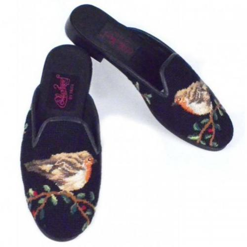 Needlepoint Robin mules Hand Stitched By Paige  Apparel & Accessories > Shoes > Clogs & Mules