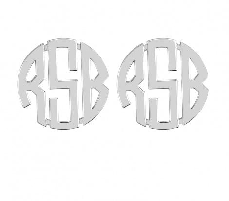 Monogrammed Circle Font Earrings on Post  Apparel & Accessories > Jewelry > Earrings