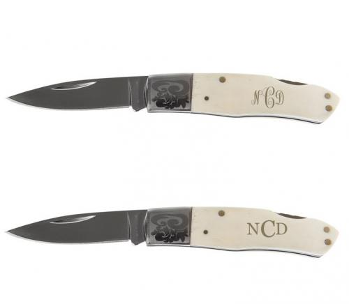 Monogrammed White Bone Lock Back Knife  Sporting Goods > Outdoor Recreation > Camping, Backpacking & Hiking > Camping Tools > Knives & Blades