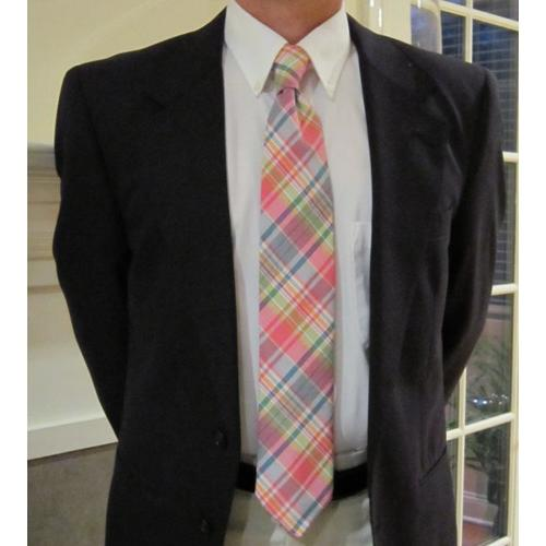Preppy Madras Plaid Tie  Apparel & Accessories > Clothing Accessories > Neckties > Ties