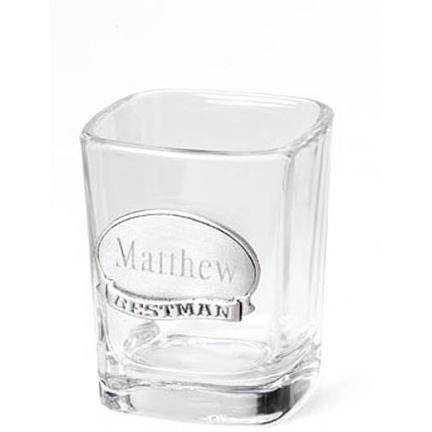 Personalized Shot Glass with Pewter Emblem  Home & Garden > Kitchen & Dining > Tableware > Drinkware > Shot Glasses