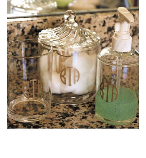 Monogrammed cotton ball and q tip holder for Bathroom q tip holder