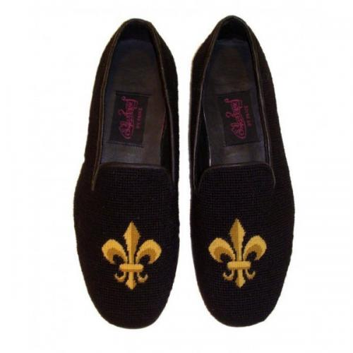 Needlepoint Fleur de Lis Black Loafers for Men Hand Stitched By Paige  Apparel & Accessories > Shoes > Loafers