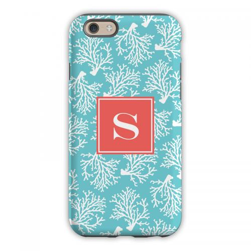 Personalized iPhone Case Coral Repeat Teal   Electronics > Communications > Telephony > Mobile Phone Accessories > Mobile Phone Cases