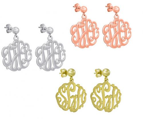 Classic Monogrammed Script Earrings on Post  Apparel & Accessories > Jewelry > Earrings
